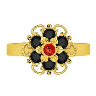 Lucia Costin Sterling Silver Red/ Black Crystal Adjustable Ring
