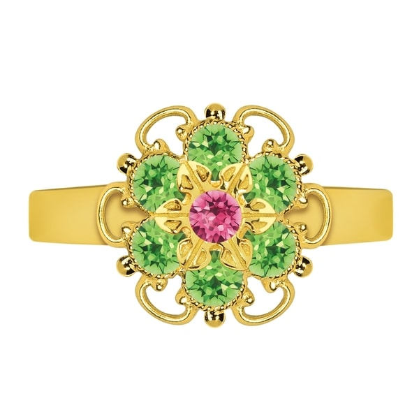 Lucia Costin Sterling Silver Pink/ Light Green Crystal Flower Ring
