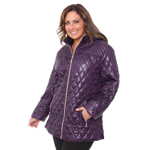 White Mark Women's Plus Size Puffer Coat in Navy 1XL (As Is Item)