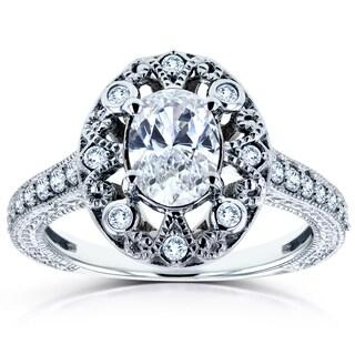 Annello 14k White Gold 1ct TDW Oval Diamond Antique Engagement Ring (H-I, I2)