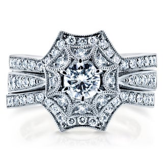 Annello 14k White Gold 1ct TDW Diamond 3-Piece Starry Bridal Rings Set (H-I, I1-I2)