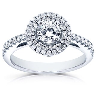 Annello 14k White Gold 3/4ct TDW Diamond Double Halo Engagement Ring (H-I, I1-I2)