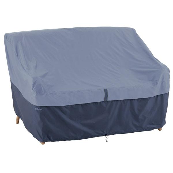 Classic Accessories Belltown Patio Sofa/ Loveseat Cover Blue in Medium (As Is Item)