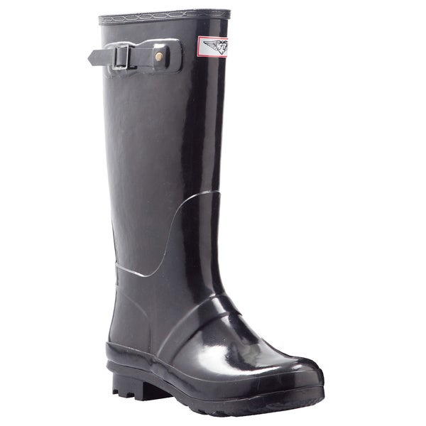 Women's Black Mid-calf Rain Boots Size 10 (As Is Item)