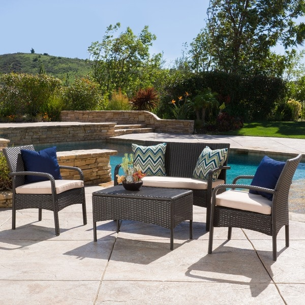 Christopher Knight Home Cordoba Outdoor 4 piece Wicker Chat Set with Cushions