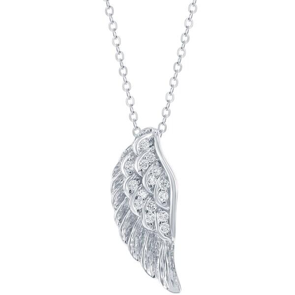 La Preciosa Sterling Silver Cubic Zirconia Angel Wings Pendant