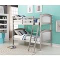 Twin over Twin Silk Upholstered Hollywood Bunk Bed in Platinum Silver