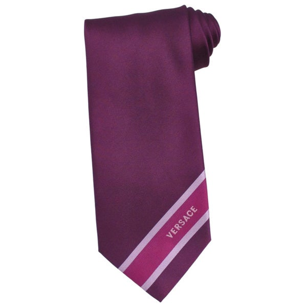 Versace 100-percent Italian Silk Plum 3-inch Wide Neck Tie