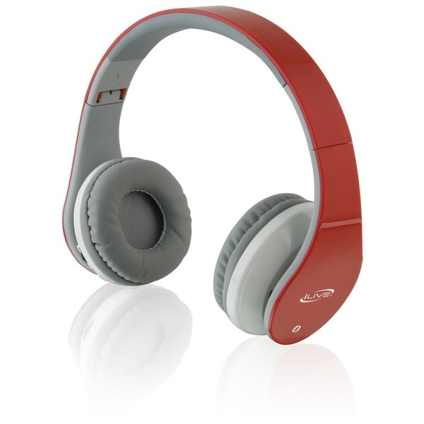 iLive Red Bluetooth Headphones with Microphone
