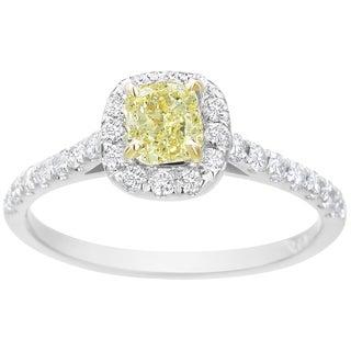 SummerRose 14k White Gold 1ct TDW Fancy Yellow Diamond Halo Ring (Fancy Yellow, SI1)