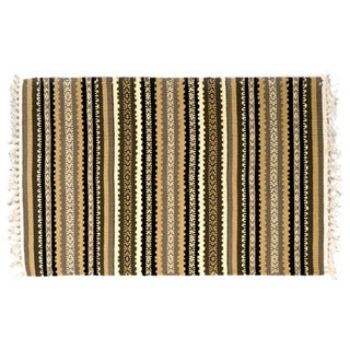 Handmade Expressions Striped Earth Tones Cotton Rug