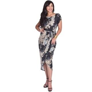 Koh Koh Women's One Shoulder 3/4-Length Sleeve Abstract Print Maxi Dress