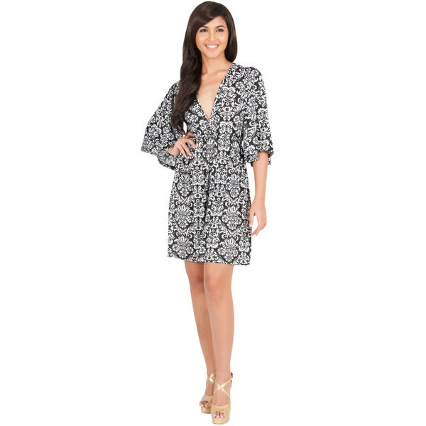 Koh Koh Women's Kimono Sleeve V-Neck Printed Cocktail Mini Dress