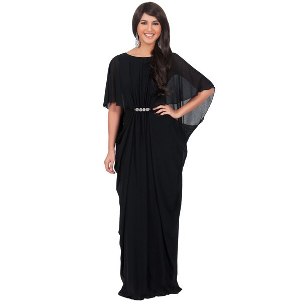 Koh Koh Women's Half-Sleeve Chiffon Embellished Maxi Dress
