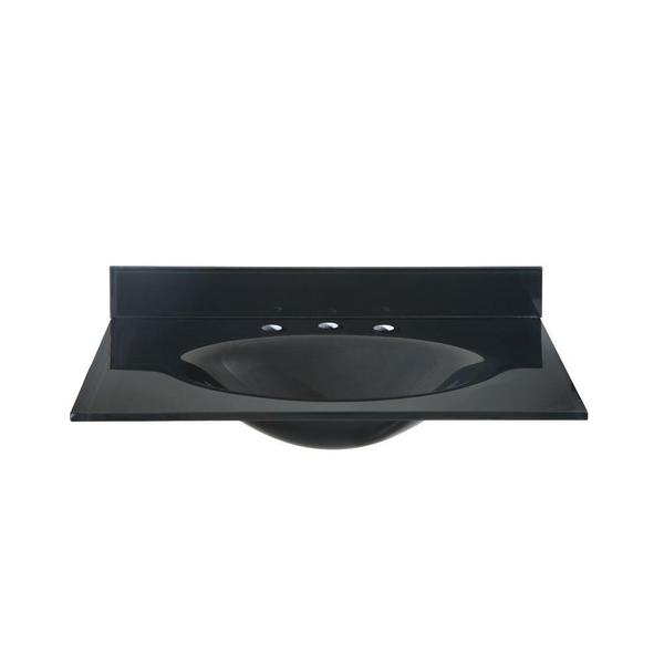 25-inch W Tempered Glass Vanity Top in Black with Black Basin
