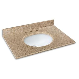 25-inch Granite Vanity Top in Beige with White Basin