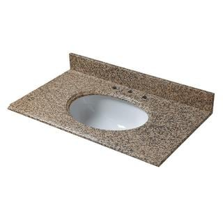 25-inch W Granite Vanity Top in Montesol with White Bowl and 8-inch Faucet Spread
