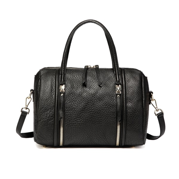 Deline Pebble Leather Top handle Satchel Handbag - Black
