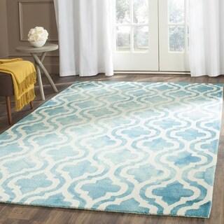 Safavieh Handmade Dip Dye Turquoise/ Ivory Wool Rug (3' x 5')