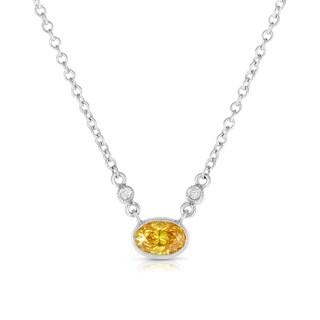 Solaura Collection 18k White Gold 5/8ct TW Oval Lab-Grown Diamond Bezel Pendant (Fancy Yellow, I1)
