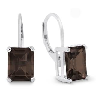 4 1/2 Carat Emerald Shape Smoky Quartz Leverback Earrings In Sterling Silver