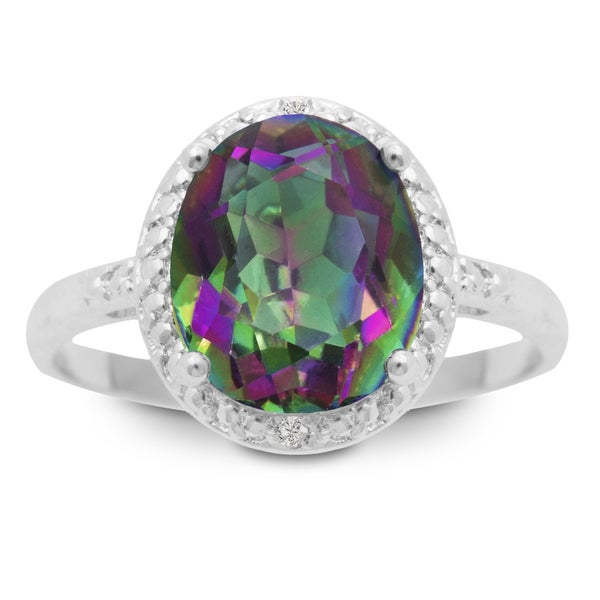 2 3 4 Carat Oval Shape Mystic Topaz and Diamond Ring Overstock c