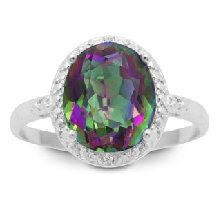 2 3/4 Carat Oval Shape Mystic Topaz and Diamond Ring