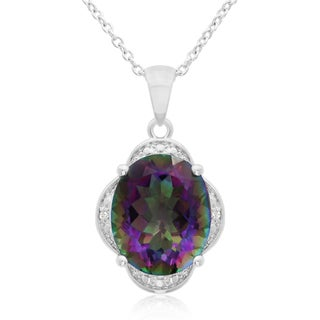 4 3/4 Carat Mystic Topaz And Diamond Necklace, 18 Inches
