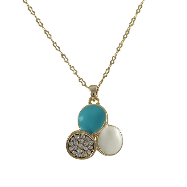 Gold Finish Crystals Blue and White Enamel Circle Pendant Necklace