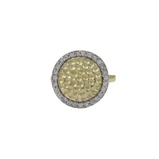 Sterling Silver Two-tone Hammered Gold Finish Cubic Zirconia Halo Ring