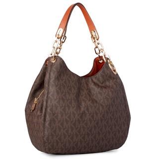 Michael Kors Fulton Large Brown Logo Shoulder Tote Bag