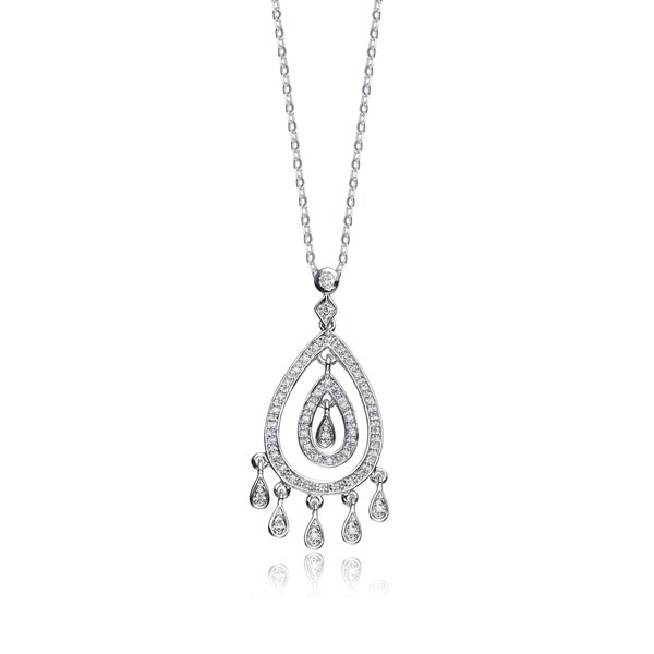 Collette Z Sterling Silver White Cubic Zirconia Dream Catcher Pendant