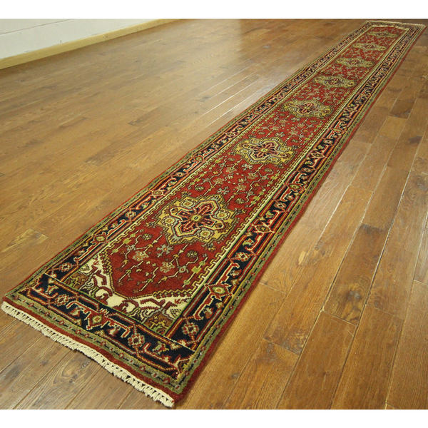 H9212 Red Wool Medallion Heriz Serapi Hand-knotted Rug (2'7 x 19'8) 16943666