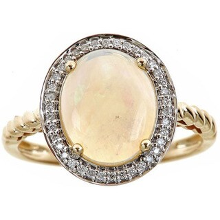 Anika and August 14k Yellow Gold Oval-cut Australian Opal and Diamond Accent Ring