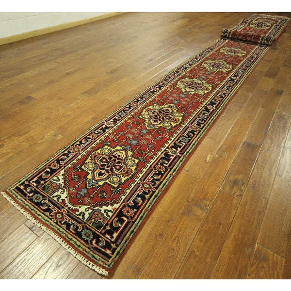 H9225 Wool Floral Heriz Serapi Hand-knotted Runner Rug (2'7 x 29'9) 16944025