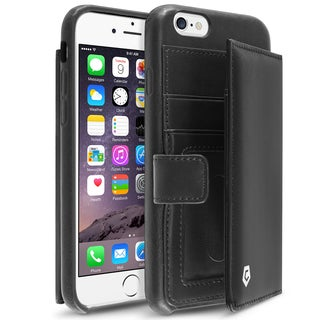 CobblePro Black Genuine Leather Case with Card Slot/ Photo Display for Apple iPhone 6/ 6s