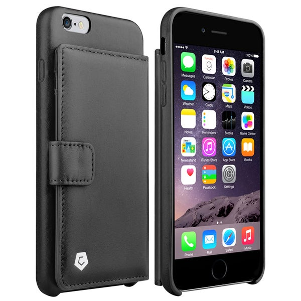 Cobble Pro Black Genuine Leather Case Cover with Card Slot/ Photo Display For Apple iPhone 6 Plus/ 6s Plus