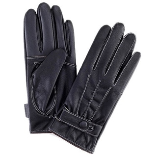 Men's Faux Leather/ Fleece Black Touchscreen Gloves with White Stitching