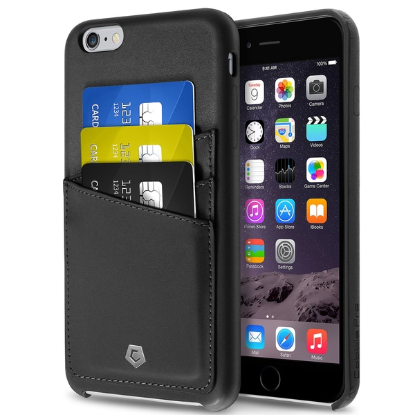 Cobble Pro Black Leather Case Cover with Wallet Flap Pouch For Apple iPhone 6 Plus/ 6s Plus