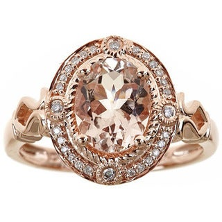 Anika and August 14k Rose Gold Oval-cut Morganite and Diamond Accent Ring