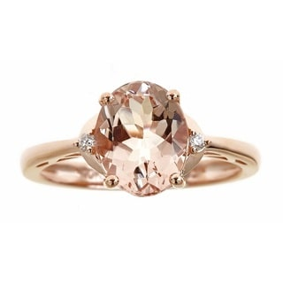 Anika and August 10k Rose Gold Large Oval-cut Morganite and Diamond Accent Ring