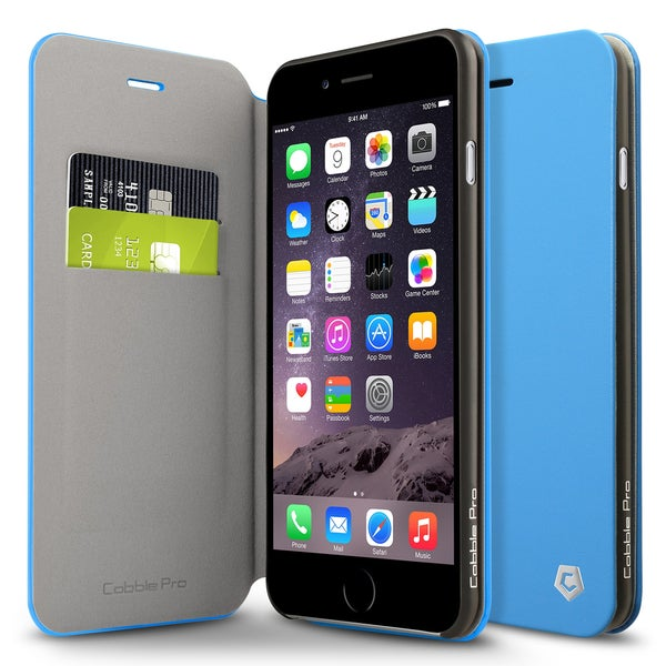 Cobble Pro Blue Leather Case Cover with Stand/ Wallet Flap Pouch For Apple iPhone 6 Plus/ 6s Plus