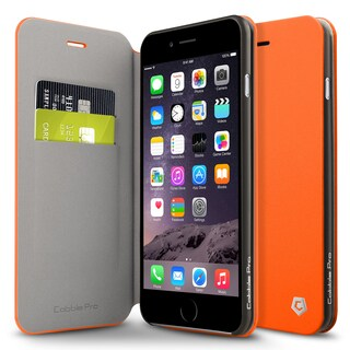 Cobble Pro Orange Leather Case Cover with Stand/ Wallet Flap Pouch For Apple iPhone 6 Plus/ 6s Plus