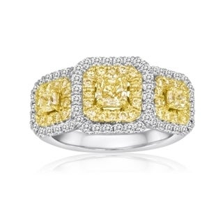 18k Two-tone Gold 1 4/5ct TDW Fancy Yellow and White Diamond Ring (F-G, SI1-SI2)