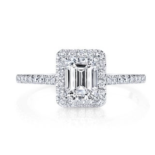 14k White Gold 1 1/2Ct TDW Halo Certified Emerald Cut Diamond Engagement Ring