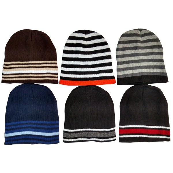 Men's Thermal Sport Striped Winter Beanie Hat (Set of 6)