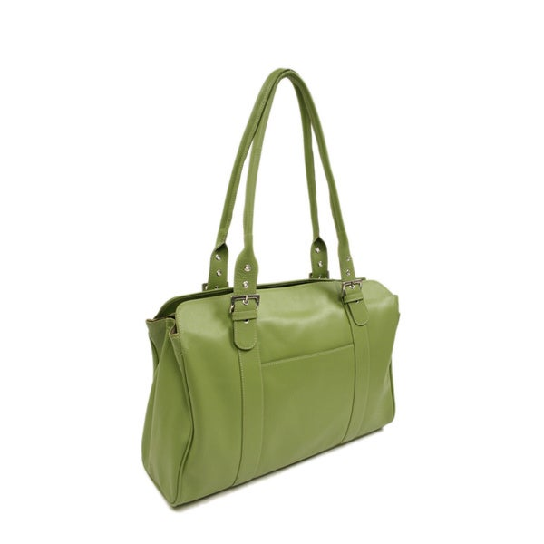 Piel Leather Ladies Buckle Laptop Tote Bag