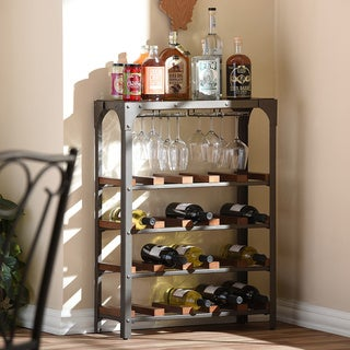 Baxton Studio Dunedin Rustic Industrial Antique Bronze Textured Finish Metal Vintage Walnut Wood Wine Bar Shelving Storage Rack