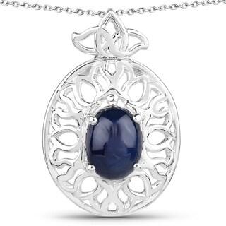 Malaika Sterling Silver Blue Sapphire Pendant
