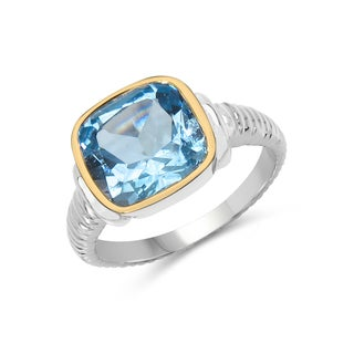 Malaika Two Tone Plated 5.10 Carat Genuine Blue Topaz .925 Sterling Silver Ring